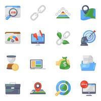 conjunto de ícones de marketing digital e análise de dados vetor