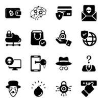 conjunto de ícones de segurança e proteção vetor