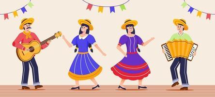 coleção de personagens do festival festa junina vetor
