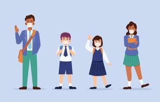 coleção de personagens de alunos em novo protocolo normal vetor