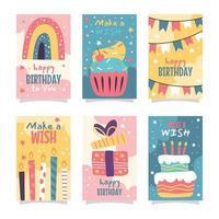 coleção de cartões de aniversário de doodles coloridos vetor