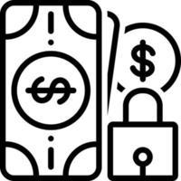 ícone de linha para dinheiro seguro vetor