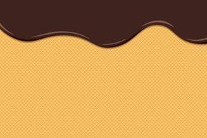O sorvete de chocolate derrete e escorre na superfície do waffle torrado. fundo de bolo doce de textura de wafer vitrificado. ilustração em vetor eps plana