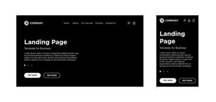 página de destino em branco modelo desktop pc e versão adaptável móvel. fundo preto do layout do site. desenho vetorial para aplicativo ou site corporativo de negócios. eps 10 vetor