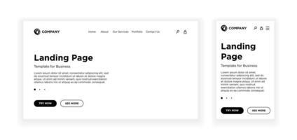 página de destino em branco modelo desktop pc e versão adaptável móvel. fundo branco do layout do site. desenho vetorial para aplicativo ou site corporativo de negócios. eps 10 vetor