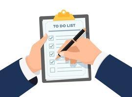 empresário mãos segurando uma prancheta com a lista de verificação. homem de negócios com a caneta marcada com a lista de verificação na ilustração em vetor eps plana