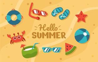 conjunto de ícones da temporada de verão vetor