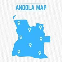 mapa simples de angola com ícones de mapa vetor