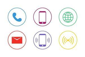 conjunto de ícones de comunicação coloridos vetor