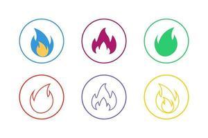 conjunto de ícones de fogo colorido vetor