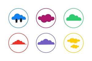 conjunto de ícones de nuvens coloridas vetor