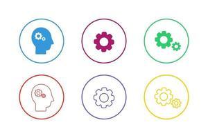 conjunto de ícones de engrenagens coloridas vetor
