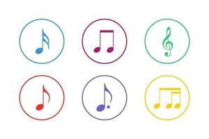 conjunto de ícones de notas musicais coloridas vetor