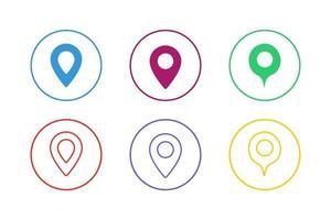 conjunto de ícones de ponteiro de mapa colorido vetor