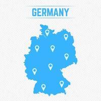 mapa simples da alemanha com ícones do mapa vetor