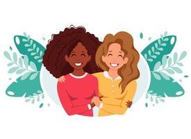 abraços das mulheres. conceito LGBT. ilustração vetorial em estilo simples. vetor