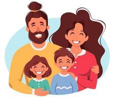 família feliz com filho e filha. pais abraçando crianças. ilustração vetorial vetor