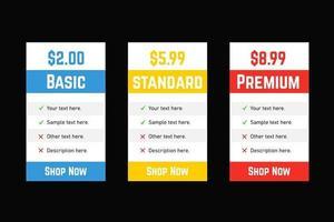 modelo de lista de preços retangular para site vetor