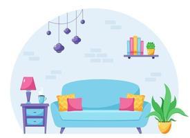 design de interiores de sala de estar moderna. apartamento loft. ilustração vetorial vetor