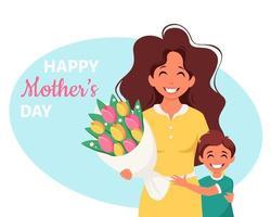 cartão do dia das mães. mulher com buquê de flores e filho. ilustração vetorial vetor