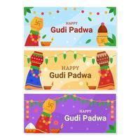 coleção de banner feliz gudi padwa vetor