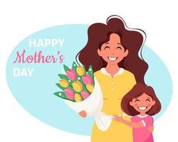 cartão do dia das mães. mulher com buquê de flores e filha. ilustração vetorial vetor
