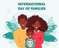 família afro-americana feliz com filho e gato. pais abraçando a criança. dia internacional das famílias. ilustração vetorial vetor