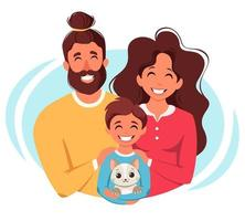 família feliz com filho e gato. pais abraçando a criança. ilustração vetorial vetor