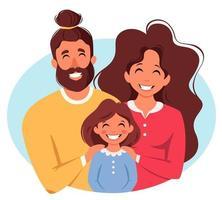 família feliz com a filha. pais abraçando a criança. dia internacional das famílias. ilustração vetorial vetor