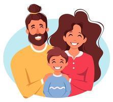 família feliz com filho. pais abraçando a criança. dia internacional das famílias. ilustração vetorial vetor