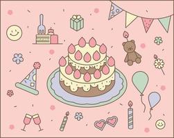 bolos e decorações para festas de aniversário. delinear ilustração vetorial simples. vetor