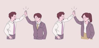 empresários fazendo high fives. mão desenhada estilo ilustrações vetoriais. vetor