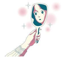 uma garota está olhando seu rosto no espelho. mão desenhada estilo ilustrações vetoriais. vetor