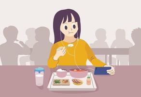 uma mulher comendo uma refeição com fones de ouvido. mão desenhada estilo ilustrações vetoriais. vetor