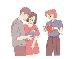 os alunos estão de pé e lendo livros. mão desenhada estilo ilustrações vetoriais. vetor