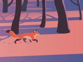 uma raposa está caminhando pela floresta. mão desenhada estilo ilustrações vetoriais. vetor