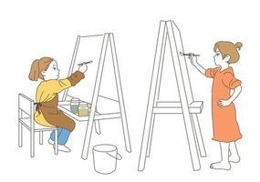 crianças pintando no cavalete. mão desenhada estilo ilustrações vetoriais. vetor