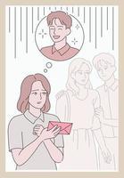 uma garota fica triste porque não conseguiu entregar uma carta de amor. mão desenhada estilo ilustrações vetoriais. vetor