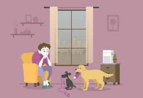 cães incapazes de passear porque o ar externo é ruim. mão desenhada estilo ilustrações vetoriais. vetor