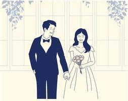 personagens de noivo e noiva. mão desenhada estilo ilustrações vetoriais. vetor