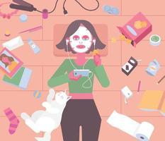 uma garota está deitada em uma sala bagunçada, usando uma embalagem de máscara e ouvindo música. mão desenhada estilo ilustrações vetoriais. vetor