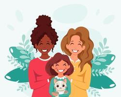 família lésbica com filha e gato. família LGBT. ilustração vetorial. vetor