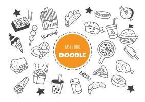 doodle fast food kawaii vetor
