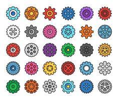ícones do vetor de contorno de cor de engrenagem