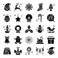ícones de vetor de glifo de natal