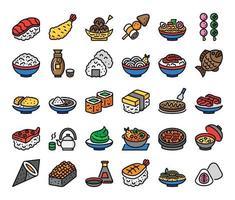 ícones do vetor de contorno de cor de comida japonesa