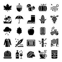 ícones de vetor glifo de outono