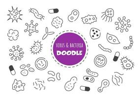 vírus e bactérias kawaii doodle vetor