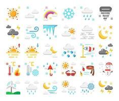 ícones de vetor plana de clima