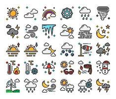 ícones do vetor de contorno da cor do clima